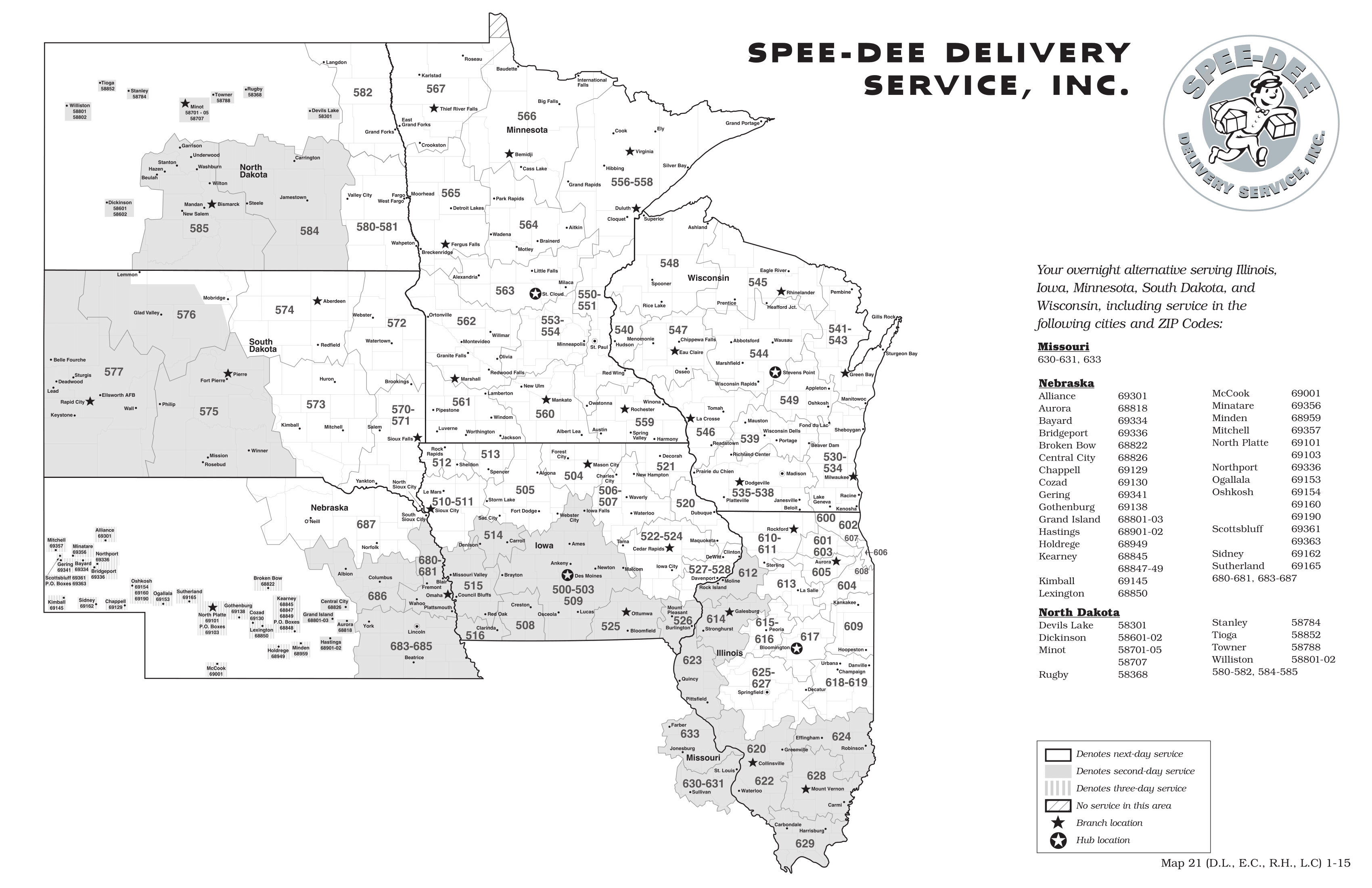 Speedee Delivery Map LSO Shipping | Saint Croix Falls, WI | St. Croix Shipping and